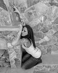 Emotion (Laveen Photography (aka cyclist451)) Tags: douglaslsmith heather scorpiongulch southmountain southmountainpark model photograph photographer photography black white bw fireplace stone wall wifebeater tanktop tattoo emotion laveenphotography cyclist451 wwwlaveenphotographycom blackandwhite blackwhite monotone