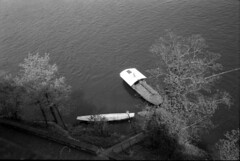 Boats (Milo R.) Tags: leica trees blackandwhite monochrome river boats switzerland delta basel rhine ilford m6