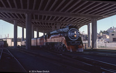 SP 4449--4449 under I-280 Freeway, appr San Francisco (milantram) Tags: sanfrancisco trains southernpacific sp4449 passengertrains steamlocomotives southernpacific4449 bigsteamlocos louisianaworldsfairdaylight