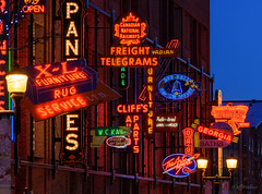 Neon Sign Museum, Edmonton (WherezJeff) Tags: alberta canada edmonton neonsignmuseum winter yeg bluehour dawn downtown twilight urban ca