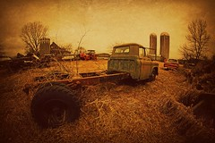 A Dark Spring Day (Dave Linscheid) Tags: truck silo farm rural agricultural texture textured butterfield watonwancounty mn minnesota usa toolwizphotoeditor