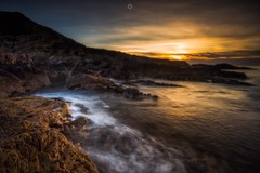 Inlet Sunset (Augmented Reality Images (Getty Contributor)) Tags: canon cliffs clouds colours dusk landscape leefilters longexposure morayfirth portknockie rocks scotland sunset water waves