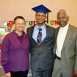 Professor Merle Bowen, Bezza Ayalew, and Professor Bokamba at graduation party for Dr. Ayalew.