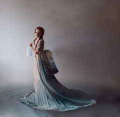 Blue Infusion. (tooga1) Tags: blue bleu infusion tea hotwater water eau portrait redhead redhair ginger rousse girl women beauty sweetness photoshop nikon sweet d750 square pastel vapeur smoke fog poetic surreal surrealism