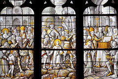 Saint Floscel (Catherine Reznitchenko) Tags: architecture france normandie normandy vitrail stain glass window église church saint floscel couleurs colors jaune yellow manche blanc white noir gris black grey lumière light intérieur indoors religion histoire history patrimoine building bâtiment structure old ancien europe travel saintfloscel saintfloxel art rouge red détail detail plante plant tour tower château castle personnage personne people