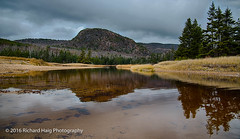 The Beehive and it's reflection (RichHaig) Tags: landscape nikonafsnikkor2412014ged acadianationalpark me overcast richhaig maine clouds trees nationalpark rocks sky thebeehive reflection water nikond800 fence