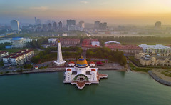 Malacca Straits Mosque (by nelzajamal) Tags: malacca straits mosque selat masjid melaka malaysia banda hilir sunset sunrise dji mavic pro arial