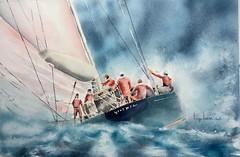 Régate (Demars Philippe) Tags: demars aquarelle voilier voiles cordages régate tempête mer