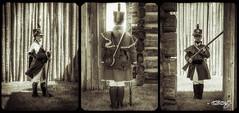 Sentry_triptych (dougkuony) Tags: sentry fortontheprairie bastion fortatkinson fortatkinsonshp triptych mono monochrome bw blackandwhite sepia hdr