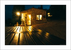 Tuscan blue hour (G. Postlethwaite esq.) Tags: chianti emount italy radaainchianti sonya7mkii sonyalphadslr tuscany afterdark bluehour cobbles door fullframe lightspikes mirrorless night photoborder sky table trees window thedailypost