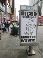 Niceo Wayne Auto Graffiti Art Calvin and Hobbs Comic Strip 4490 (Brechtbug) Tags: niceo wayne auto graffiti calvin hobbs newspaper comic strip characters art posters sidewalk phone booth 7th avenue near 34th street midtown nyc 2017 04172017 new york city profile design films movie funnies sunday papers bill watterson cartoonist tigre kid stuffed tiger st ave streets niceos criminal minded you been blinded guerilla ads cover manhattan culture jamming bombing since 1977 mass appeal reports same funny cartoon news paper