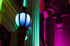 Street Lights at the Theatre (Trent Crawford) Tags: street light lights colour theatre night bright pink purple blue green hue