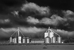 anderson farm silos (eDDie_TK) Tags: colorado co weldcountyco weldcounty weld meadco mead silos farms farming rural rurallife ruralliving frontrangeco frontrange coloradoseasternplains blackandwhite bw