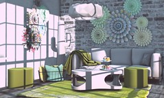 Spring cupcakes (Alexa Maravilla/Spunknbrains) Tags: onegrid cosmopolitan lagom duvetday scarletcreative secondlife indoors building architecture furniture decor spring cupcakes green teal