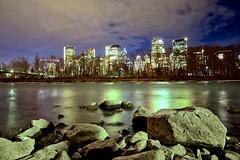 Calgary on The Rocks (John Andersen (JPAndersen images)) Tags: boulders bowriver calgary cloudy le night yycexposure
