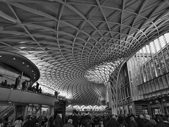 Ecdysis (Douguerreotype) Tags: uk gb britain british england london city urban bw blackandwhite mono monochrome architecture buildings station roof ceiling people transport travel railway