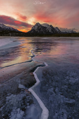 Abraham lake Sunrise (shaunyoung365) Tags: mountain canada abraham lake winter banff