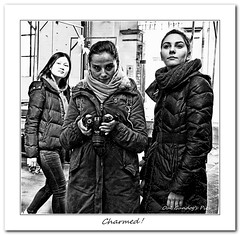 Charmed! (Oul Gundog) Tags: charmed beautiful girls st georges market belfast love fudge northern ireland ulster black white greyscale