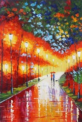Rain Makes Everything Better, Art Painting / Oil Painting For Sale - Arteet™ (arteetgallery) Tags: arteet oil paintings canvas art artwork fine arts light city town yellow autumn tree night nature background season building street wallpaper walk path cities buildings people portraits orange red paint