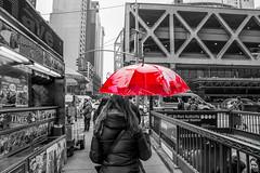 Red Umbrella (Nihil Baxter007) Tags: red umbrella regenschirm rain regen woman frau schirm nyc newyork city stadt town manhattan