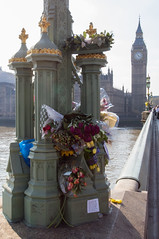 London Tributes (The Crewe Chronicler) Tags: london westminster westminsterbridge bridge tributes flowers bigben parliament housesofparliament palaceofwestminster