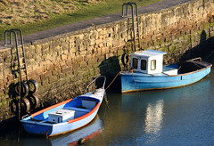Two boats at Seaton Sluice (DavidWF2009) Tags: northumberland seatonsluice fishingboat harbour boat