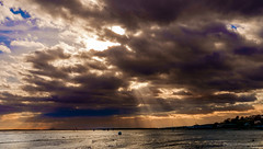 Sun rays breaking through clouds at Chalkwell Beach - West (Cozy61) Tags: chalkwell beach river essex photography fujifilm xpro1 thames photo selfie self portrait iphone sun setting rays clouds breaking through
