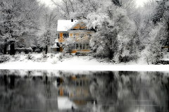 The color of Winter (Captions by Nica... (Fieger Photography)) Tags: home house reflections reflection water river nature winter spring serene snow trees tree branches covered outdoor storm yellow