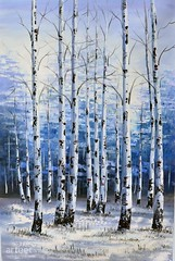 Left or Right, Art Painting / Oil Painting For Sale - Arteet™ (arteetgallery) Tags: arteet oil paintings canvas art artwork fine arts tree forest nature leaves autumn birch season landscape leaf fall park yellow snow landscapes decorative forests blue white paint
