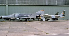 Stored aircraft with in the foreground F-4E Phantom-II 75-0635 & CL-13B/ Sabre Mk-6 D-9542, both ex German Air Force/ GAF/ Luftwaffe. Stored, Fassberg flugplatz, 25-06-2002. (Aircraft throughout the years) Tags: aircraft f4 f4e phantomii 750635 f86 cl13b sabre mk6 d9542 german air force gaf luftwaffe stored fassberg flugplatz 2002