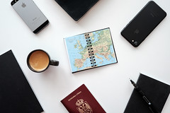Vacation time (borishots) Tags: vacation travel ferie europe map book notebook stilllife lifestyle iphone7 iphone5s coffee coffeetime coffeelover coffeemug coffeecup fuji fujinon fujifilm fujifilmxe2 fujinon23mmf14 classicchrome plan plans pen mobile whitetable table perspective papers