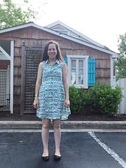 """Scallops and squiggles-mint"" Grainline Studio Alder Shirtdress (ottomanbrim) Tags: ottomanbrim scallops 50svintage retro stripes dots spring mint spoonflower sproutpatterns"
