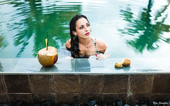 T R O P I C A L (kevin_arnassalom_photographie) Tags: jaune water girl swimming pool palmtree palm coconut