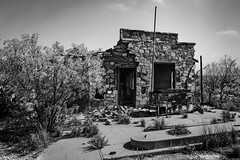 Out'a Gas (Mike Schaffner) Tags: abandoned bw blackwhite blackandwhite building decay decayed derelict deserted dilapidated dryden gasstation monochrome old ruins servicestation stone texas unitedstates us
