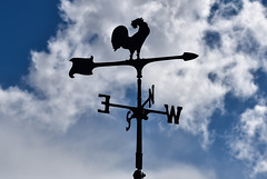 Weather Vane (maytag97) Tags: maytag97 weather vane direction rooster cock sky wind arrow vintage old sign north background weathercock beautiful decorative east south climate compass meteorology nature sunset change black outdoor silhouette ornament metal blue cloud