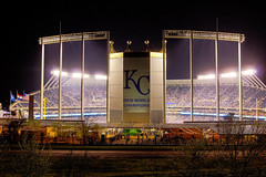 Friday Night Lights (KC Mike D.) Tags: stadium baseball fans crowd scoreboard mlb royals city kansas kansascity missouri light night flags champions world