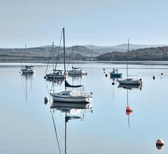Morning Blues (suerowlands2013) Tags: rivertamar saltash boats reflections morning dartmoor rivertavy earlymorningcalm cornwalldevonborder