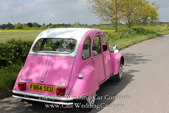 Rosie in the country-2 (magicalnights) Tags: pink wedding car derbyshire 2cv chic weddingcar shabbychicwedding sexyweddingcar 2cvweddingcar