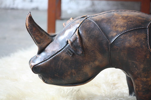 Grazing Dmitri Omersa Leather Rhinocerous Foot Stool for Abercrombie & Fitch (England, 1960)