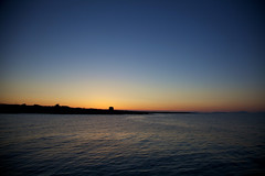 in the moment (jbredrebel) Tags: blue ireland sunset sea summer sky dublin orange beach silhouette yellow evening harbour dusk irishsea martellotower fingal balbriggan