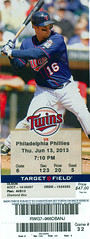 June 13, 2013, Minnesota Twins vs Philadelphia Phillies, Target Field, Minneapolis - Ticket Stub (Joe Merchant) Tags: philadelphia field minnesota june twins minneapolis ticket target phillies vs 13 stub 2013