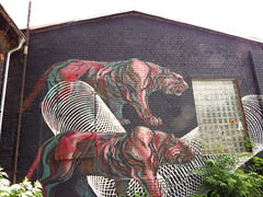 geometry and tigers (aestheticsofcrisis) Tags: street urban streetart berlin art germany graffiti mural europe raw urbanart friedrichshain tempel intervention guerillaart