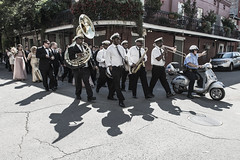 Jazzmen brass band playing for a wedding