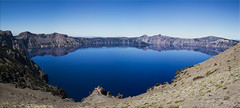 Crater Lake - The Bluest Blue (Jill Clardy) Tags: park blue summer sky panorama lake oregon day pano clarity 7 images clear alpine national crater 100views pure 1000vi