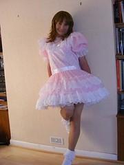 pink lace dress (shellyanatine) Tags: pink dress crossdressing sissy petticoat frilly