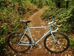 Capricorn Eprouve SS (guidedbybicycle) Tags: blue light sky bicycle speed cross handmade steel fork tape single singlespeed blade straight custom saddle cyclocross brooks lugs lugged newbaums