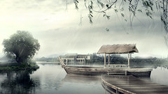 Landscape: A boat in the misty rain (hawkdisplays) Tags: house tree beautiful rain river painting landscape boat jiangnan aesthetic mistyrain