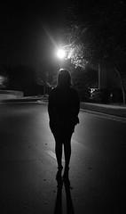 black and white (Maple Liz Photography) Tags: light shadow blackandwhite tree girl night dark mysterious suburbs silouhette