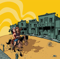 Miesha-ville CD cover (Tom Bagley) Tags: horse music canada calgary dusty illustration ink cartoon alberta ghosttown tumbleweed cornball tombagley brushwork canadiancontent mieshaandthespanks