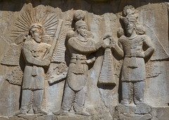 Sassanian Bas-reliefs At Taq-e Bostan, Kermanshah, Iran (Eric Lafforgue) Tags: travel colour history monument statue horizontal outdoors photography ancient asia day iran middleeast persia nobody nopeople unescoworldheritagesite relief cave ukrainian kermanshah alcove pers frontview basr